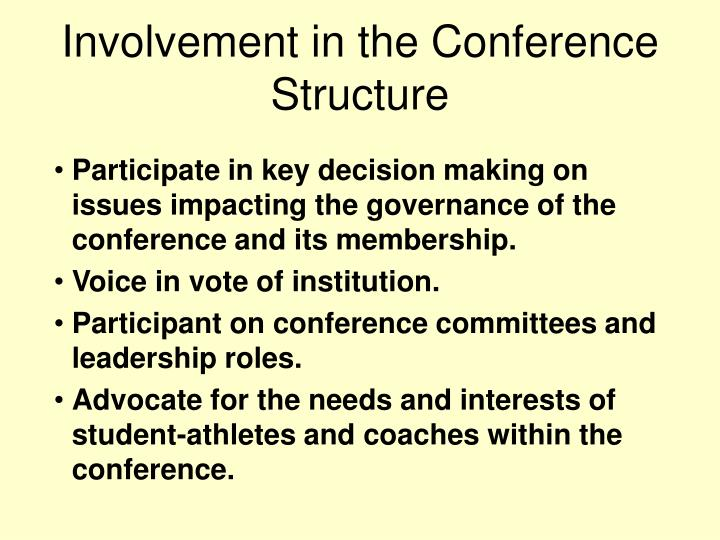 Involvement in the Conference Structure