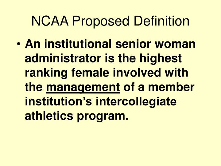 NCAA Proposed Definition