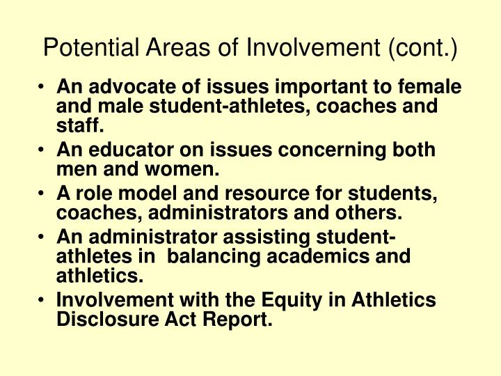 Potential Areas of Involvement (cont.)