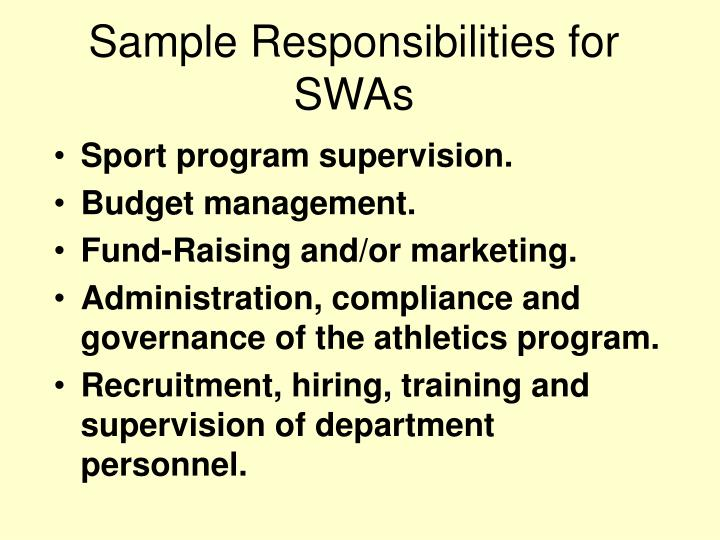 Sample Responsibilities for SWAs
