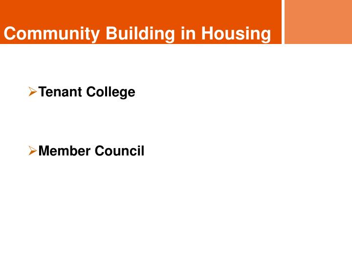 Community Building in Housing