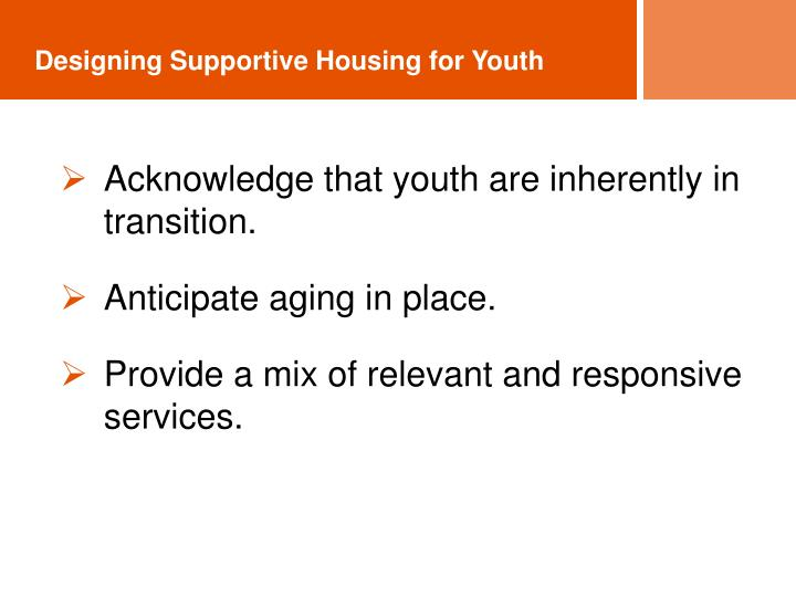 Designing Supportive Housing for Youth