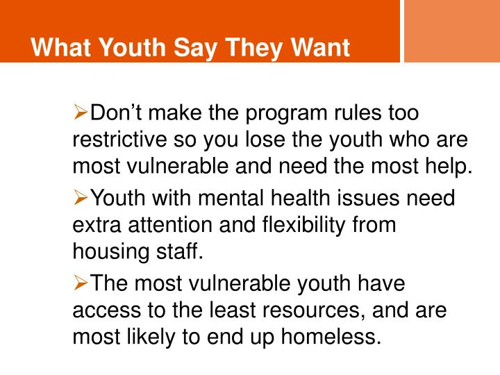 What Youth Say They Want