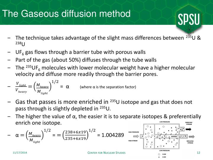 The Gaseous diffusion method