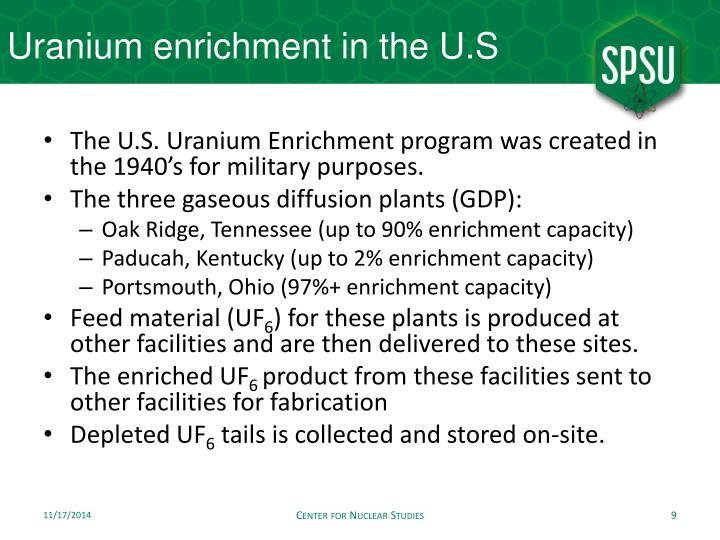 Uranium enrichment in the U.S