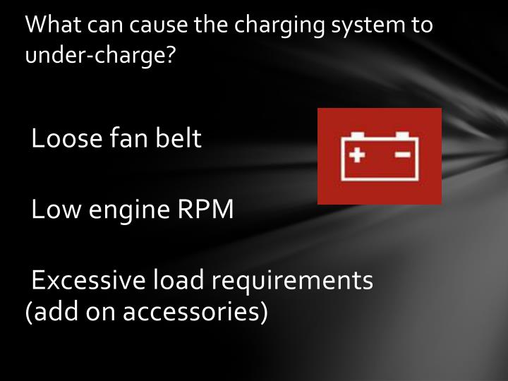 What can cause the charging system to under-charge?