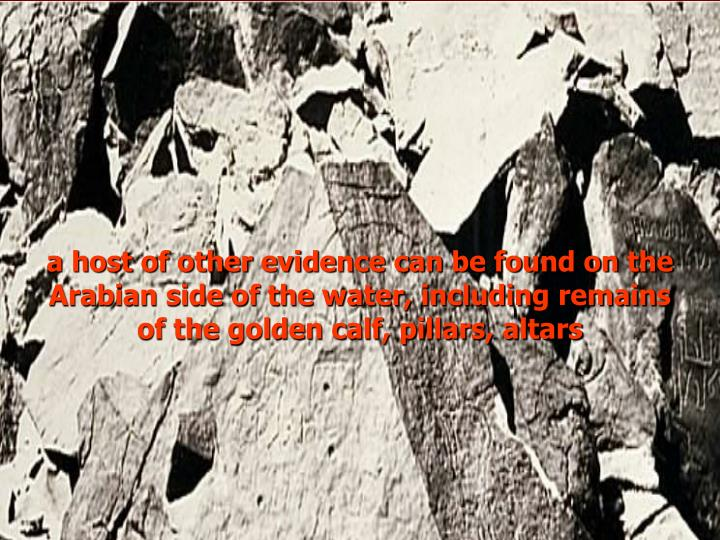 a host of other evidence can be found on the Arabian side of the water, including remains of the golden calf, pillars, altars