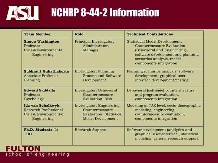 NCHRP 8-44-2 Information