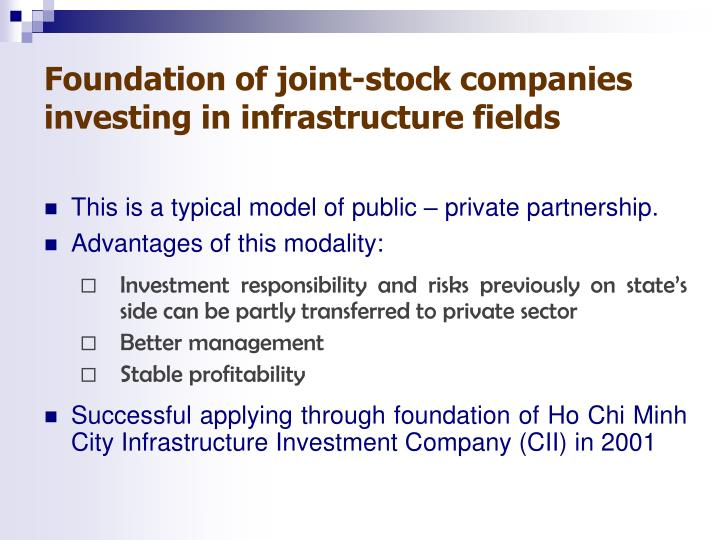Foundation of joint-stock companies investing in infrastructure fields