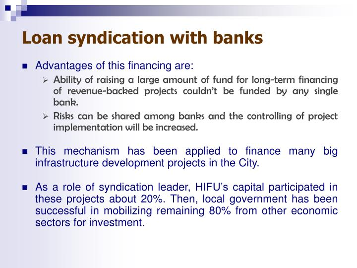 Loan syndication with banks