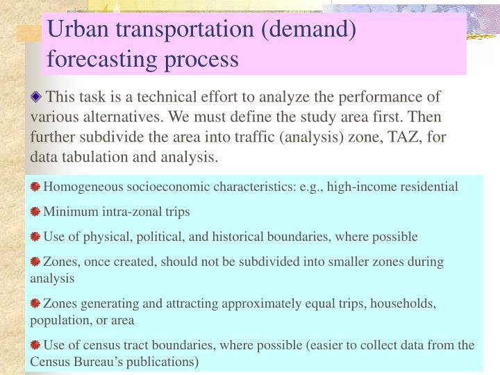 Urban transportation (demand) forecasting process