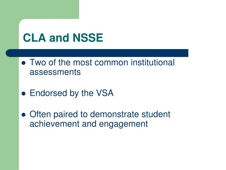 CLA and NSSE