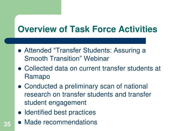 Overview of Task Force Activities