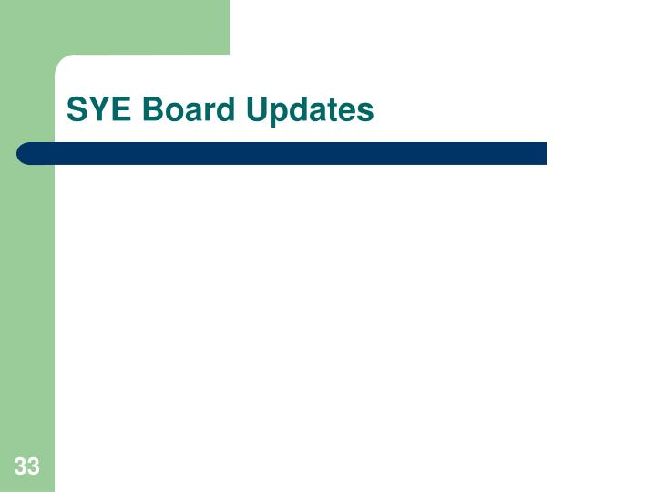 SYE Board Updates