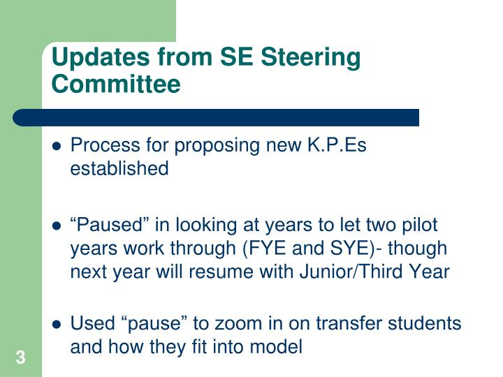Updates from SE Steering Committee