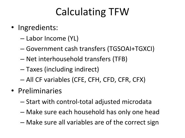 Calculating TFW