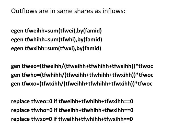 Outflows are in same shares as inflows: