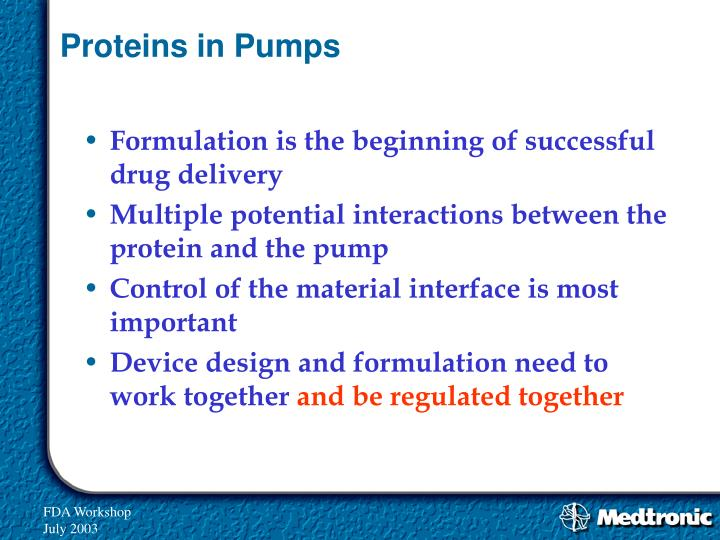 Proteins in Pumps