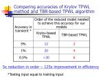 comparing accuracies of krylov tpwl method and tbr based tpwl algorithm