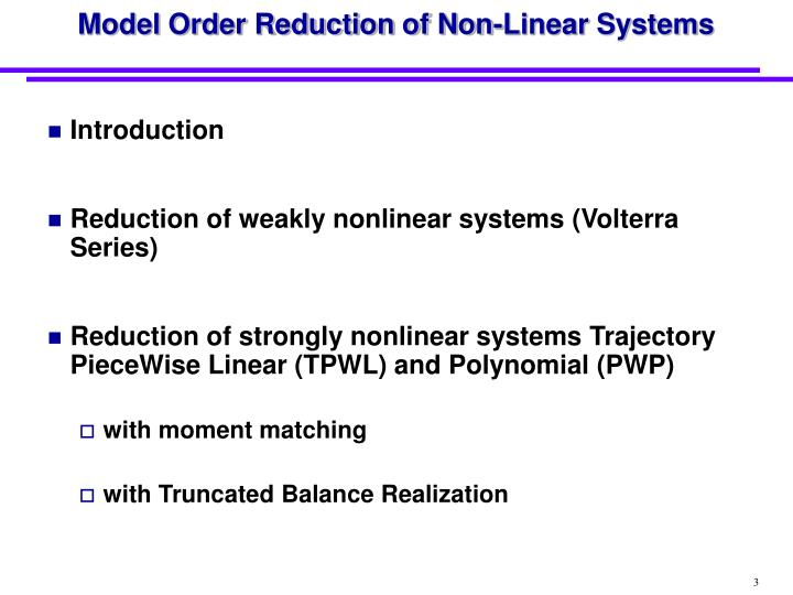Model order reduction of non linear systems