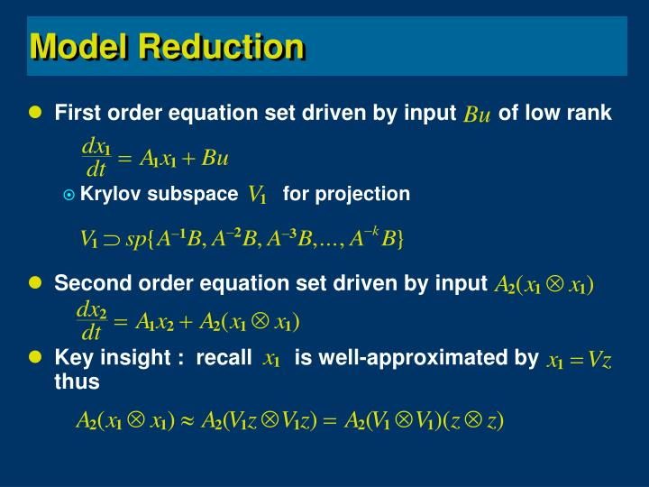 First order equation set driven by input       of low rank