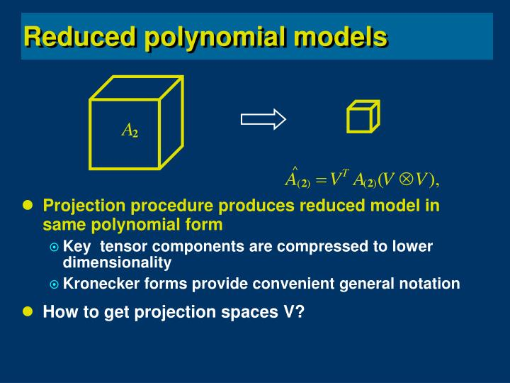 Projection procedure produces reduced model in same polynomial form