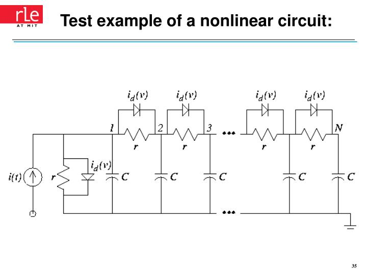 Test example of a nonlinear circuit: