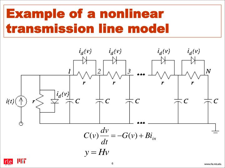 Example of a nonlinear transmission line model