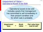 impairment of value operational assets to be sold