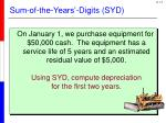 sum of the years digits syd1