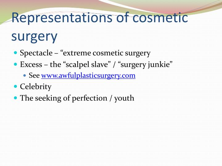 Representations of cosmetic surgery