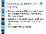 understand the results low afp syndrome