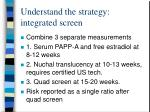 understand the strategy integrated screen