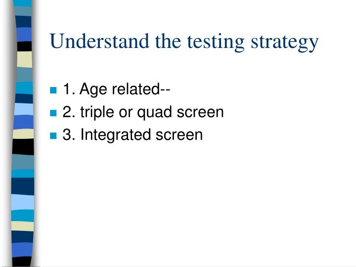 Understand the testing strategy