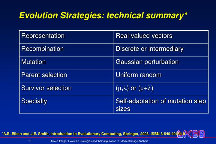 Evolution Strategies: technical summary*