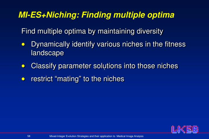 MI-ES+Niching: Finding multiple optima