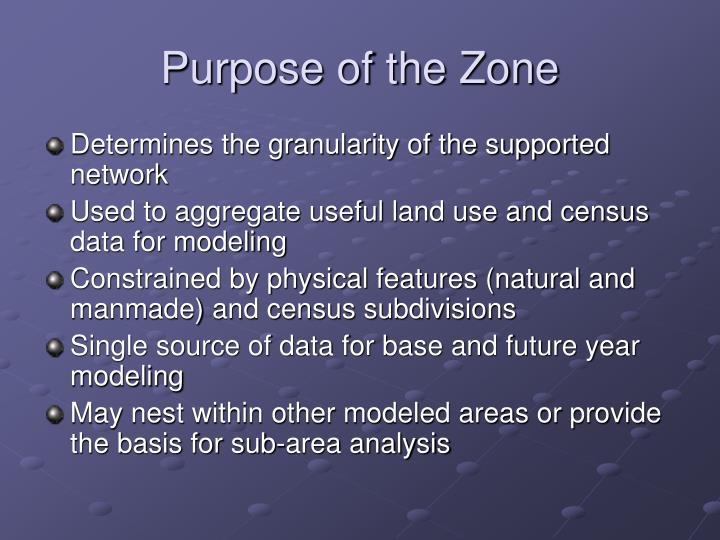 Purpose of the Zone