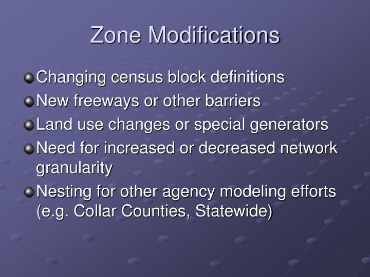 Zone Modifications