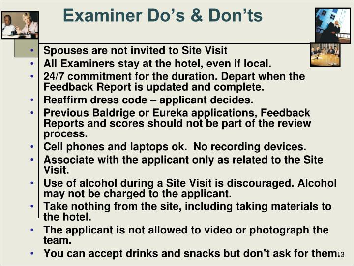 Examiner Do's & Don'ts