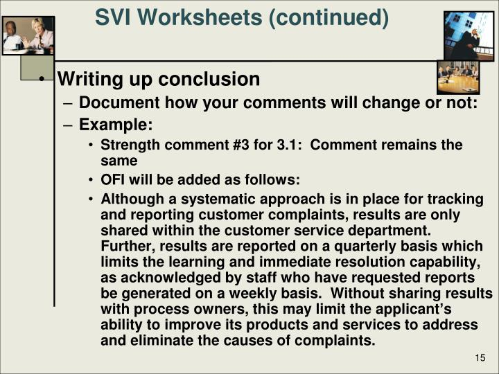 SVI Worksheets (continued)
