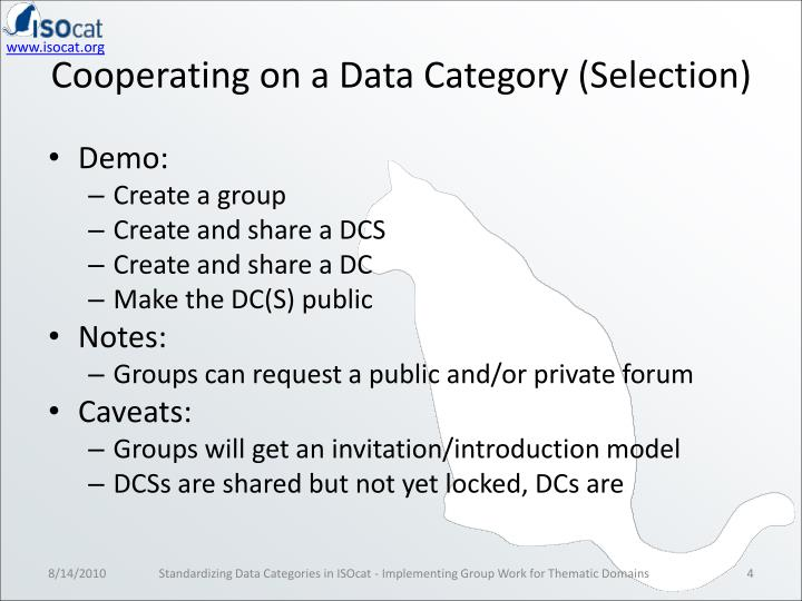 Cooperating on a Data Category (Selection)