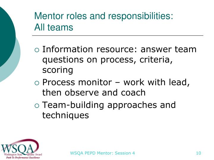 Mentor roles and responsibilities: