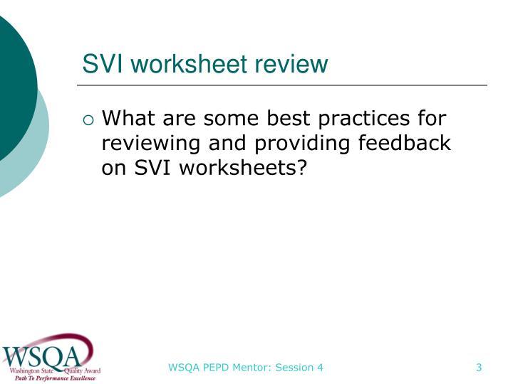 SVI worksheet review