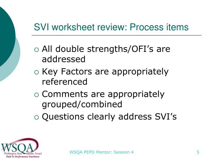 SVI worksheet review: Process items