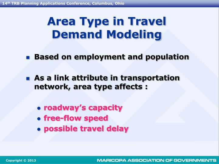 Area Type in Travel Demand Modeling