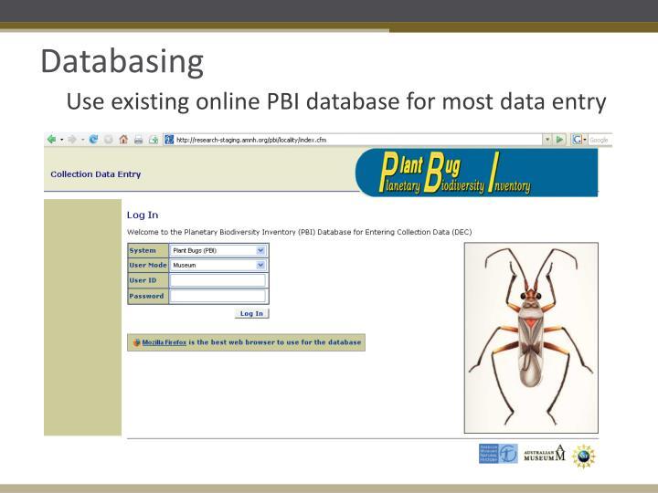 Databasing