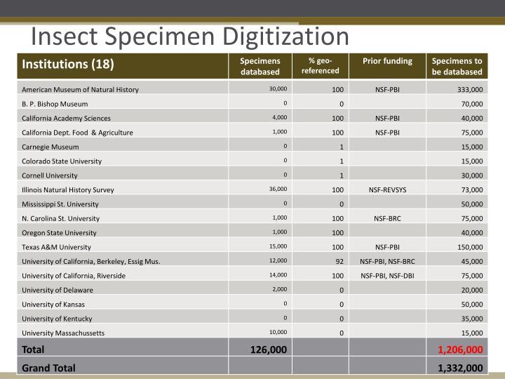 Insect Specimen Digitization