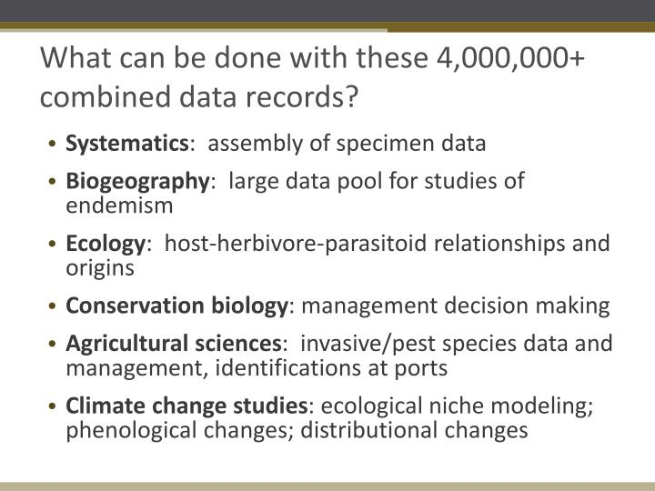 What can be done with these 4,000,000+ combined data records?