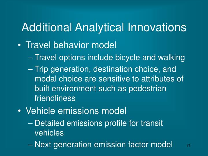Additional Analytical Innovations