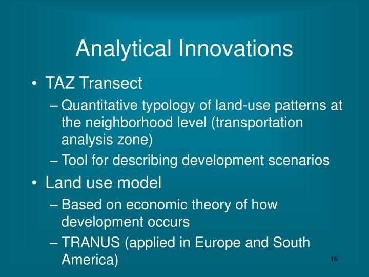 Analytical Innovations